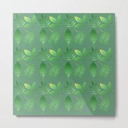 Green Leaves Green Bkgrd Metal Print