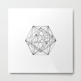 Geometric Crystal - Black and white geometric abstract design Metal Print