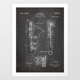 Selmer Saxophone Patent - Saxophone Art - Black Chalkboard Art Print