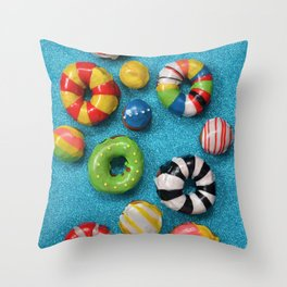 Carnival Donuts Throw Pillow