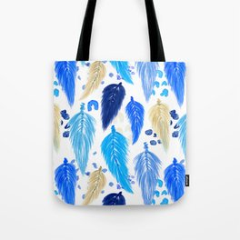 Watercolor Macrame Feathers + Dots in Blue Rainbow Tote Bag