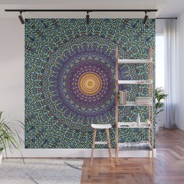 Happy Sun Circle Bohemian Geometric Thread Weave Pattern \\ Yellow Green Blue Purple Color Scheme Wall Mural