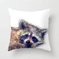raccoon Throw Pillows featuring Raccoon  by jbjart