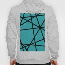 Black Lines - turquoise Triangles geometric Hoody