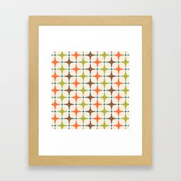 Mid Century Modern Star Pattern 814 Brown Orange Turquoise Chartreuse Framed Art Print