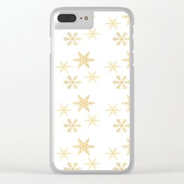 Snowflakes on White Clear iPhone Case