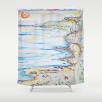water colour Shower Curtains featuring water colour kaua'i by David Stone