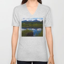 Pyramid Mountain as seen from Cottonwood Slough in Jasper National Park, Canada Unisex V-Neck
