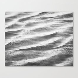 Black and White Water Ripple Photography, Grey Ocean Ripples, Gray Neutral Sea Waves, Seascape Wave Canvas Print