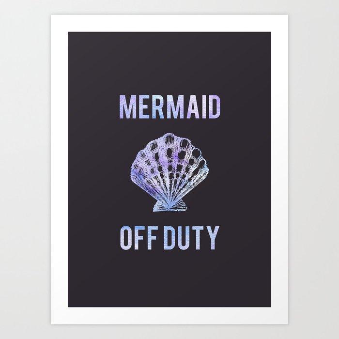 Mermaid Off Duty - Purple Seashell Art Print
