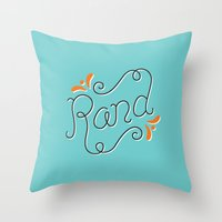 lettering Throw Pillows featuring Rand Lettering by janna barrett