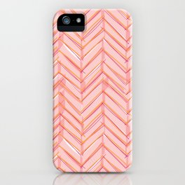Neon Grapefruit Herringbone iPhone Case