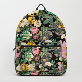 Vintage pink, yellow and white pastel rose garden Backpack