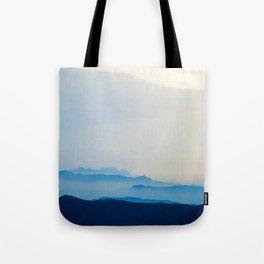 Minimalist Landscape Blue Mountain Parallax Tote Bag