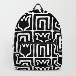 Mid Century Flower Garden Pattern 381 Black and White Backpack