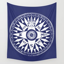 Nautical Compass | Navy Blue and White Wall Tapestry