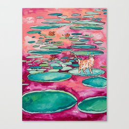 Ginger Cat amongst the Lily Pads on a Pink Lake Canvas Print