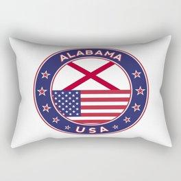 Alabama, Alabama t-shirt, Alabama sticker, circle, Alabama flag, white bg Rectangular Pillow