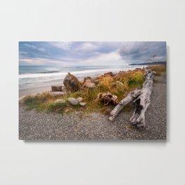 Bruce Bay beach close to sunset at Tasman Sea in New Zealand Metal Print