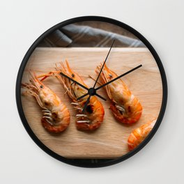 Grilled shrimps on wooden board Wall Clock
