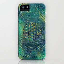 Flower of life Marble and gold iPhone Case