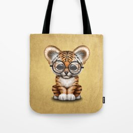 Cute Baby Tiger Cub Wearing Eye Glasses on Yellow Tote Bag