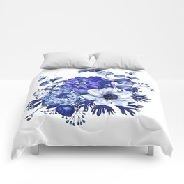 China Blue Porcelain, Asia, Peony, Flower, Floral, Cyan Comforters