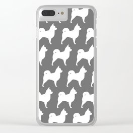 White Long Haired Chihuahua Silhouette Clear iPhone Case