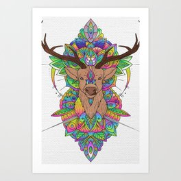 Stag head painting on canvas Art Print