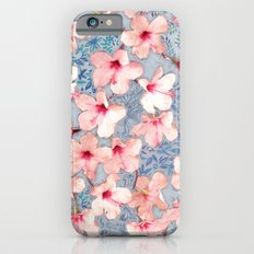 Shabby Chic Hibiscus Patchwork Pattern in Pink & Blue Slim Case iPhone 6