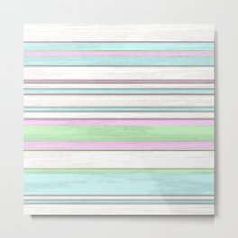 Chic Pastel Colors Funky Retro Grunge Stripes Pattern Metal Print