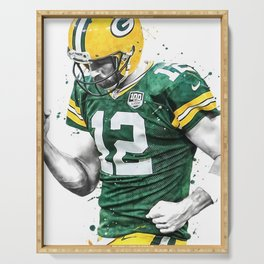 Aaron Rodgers poster, Football print, Sports wall art, Kids room decor, Man Cave, Gift Serving Tray