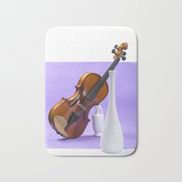 Still life with violin and white vases on a purple Bath Mat