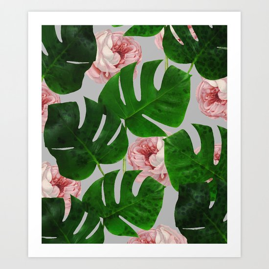 Monstera & Rose Pattern #society6 #decor #buyart Art Print