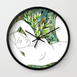 Nude with Green Flowers Wall Clock