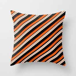 Team Colors ....orange,black, and white Throw Pillow