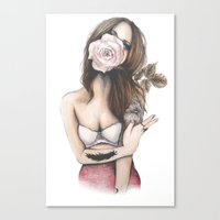 charmaine olivia Canvas Prints featuring Charmaine // Fashion Illustration by Paper&Ink