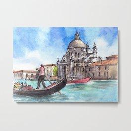 Venice ink & watercolor illustration Metal Print