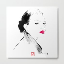 CUSTOM PORTRAIT. Original custom fashion style portrait drawing from your photo.  Metal Print