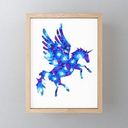 Blue and Purple Flowers Unicorn Pegasus Framed Mini Art Print