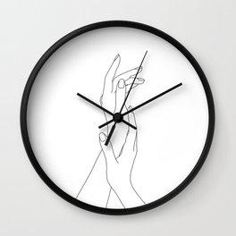 Hands line drawing illustration - Dia Wall Clock
