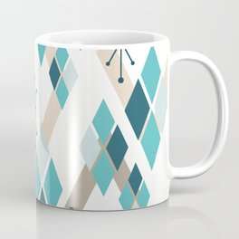 Mid Century Modern Diamonds (Teal) Coffee Mug
