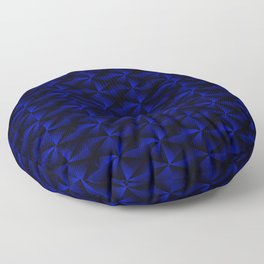 Rectangles of luminous blue rhombuses and black pyramidal triangles. Floor Pillow