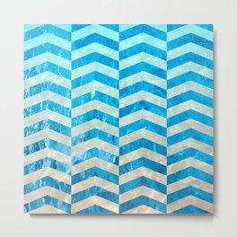 Aquatic Gradient -Wide Cevrons Metal Print