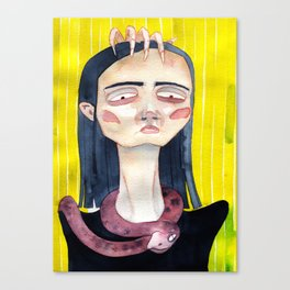 Vlogger girl with a snake Canvas Print
