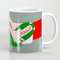 italy Mugs featuring Rugby Italy by mailboxdisco