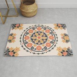 Wildflower Mandala Tapestry Pattern Rug