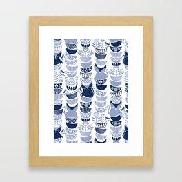 Swedish folk cats III // white background pale and navy blue kitties & bowls Framed Art Print
