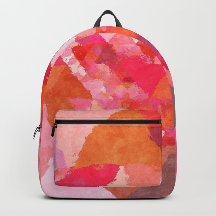 Into the heat - Pink and red watercolor Triangle pattern Backpack