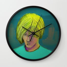 Blond Boy Crying Wall Clock